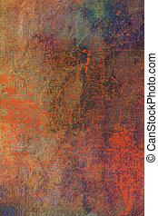 抽象的, textured, background:, 赤, ブラウン, と青, パターン, 上に, 古い, 傷付けられる, 壁