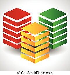 抽象的, towers., eps, ベクトル, 三色旗, 10