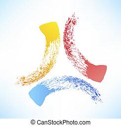 抽象的, triad., シンボル, brushstroke.