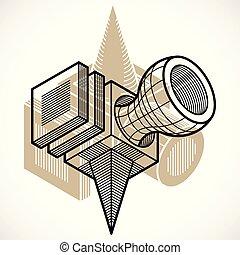 抽象的, trigonometric, 次元, ベクトル, デザイン, 建設, template.
