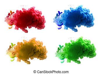 抽象的, water., バックグラウンド。, 色, インク, アクリル