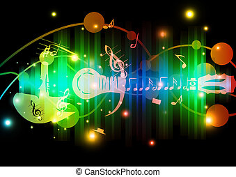 抽象藝術, 鮮艷, 音樂, 背景