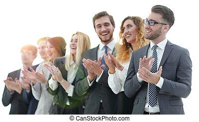 拍手喝采する, グループ, 隔離された, ビジネス 人々
