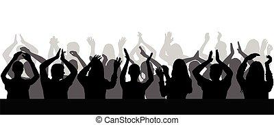 拍手喝采する, close-up., illustration., ベクトル, シルエット, 群集