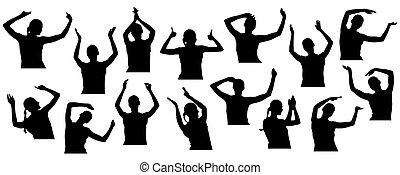 拍手喝采する, close-up., illustration., 手, ベクトル, シルエット, 若い, 振ること, 女, セット