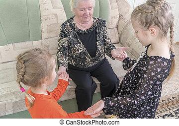 拍手, 曾祖母, プレーする, 孫