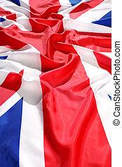 拍打, 旗, 英国, 带, 波浪
