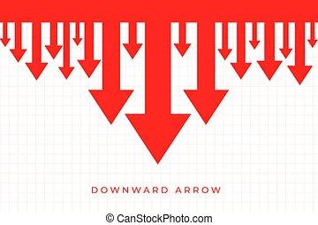 拒絕, 顏色, 箭, 背景, 向下, 紅色