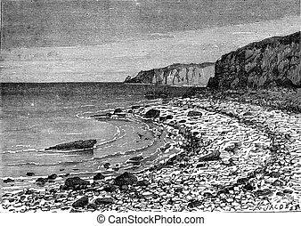 拒絶された, 浜, コード, (somme), cayeux, e, 海, 小石, 型
