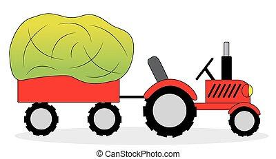 拖拉机, 以及, 干草, 貨車