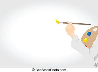 拖拉, 帆布。, 艺术家, 描述, 手, 矢量, 刷子