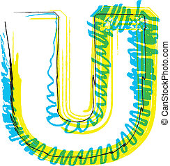 拖拉, u, font., 信件, 手