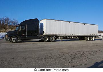 拖車, 白色, 卡車, 半, 空白, 拖拉机