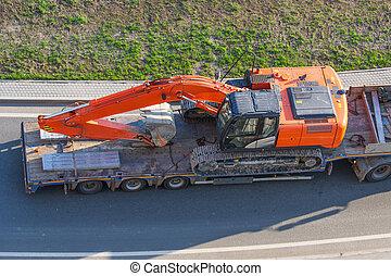 拖車, 重, 長, 運輸, excavator., 卡車, 高速公路, 平台, transportation., 機械, 裝