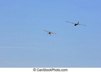 拖, 滑翔机, sky.