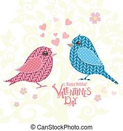 招待, あなたの, カード, 編まれる, 鳥, 恋人, デザイン
