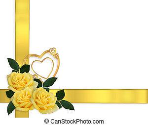 招待, ばら, 結婚式, ボーダー, 黄色