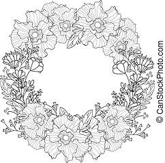 招待, よい, カード, 型, フレーム, wreath., greetings., flowers., ベクトル, 黒, white., 結婚式, 花, ラウンド