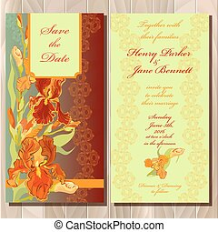 招待, カード, イラスト, 結婚式, 花, ベクトル, アイリス, バックグラウンド。, 赤