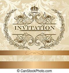 招待, カード, ライト, 優雅である