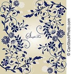 招待, カード, 結婚式, 花の意匠, 型