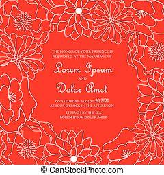 招待, カード, 結婚式, 花, 赤