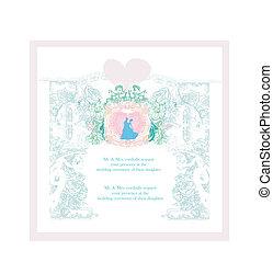 招待, カード, 結婚式, 花, elements.