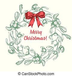 招待, スケッチ, セット, poster., 伝統的である, カード, 型, ヤドリギ, クリスマスの 装飾, デザイン, ブランチ, 手, 引かれる, 休日, サテン, style., 弓