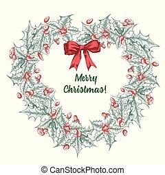 招待, スケッチ, branches., ポスター, カード, style., 型, 花輪, 手, 伝統的である, デザイン, banner., 西洋ヒイラギ, 引かれる, 休日, 植物, クリスマス, decoration.