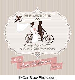 招待, タンデム, 自転車, 結婚式