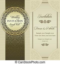 招待, バロック式, ベージュ, 金, 結婚式