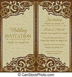 招待, ブラウン, バロック式, 結婚式