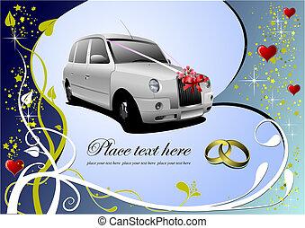 招待, ベクトル, 結婚式, カード, 挨拶, card., illustration.