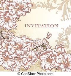 招待, ベクトル, 花, 優雅である