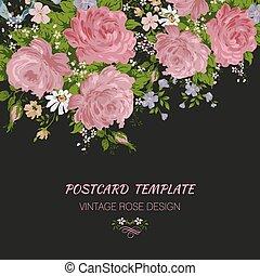招待, ベクトル, 花, 美しい, roses., イラスト