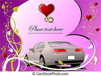 招待, ベクトル, valentine`s, カード, 挨拶, 日, card., illustration.