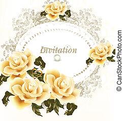 招待, ベージュ, カード, 結婚式