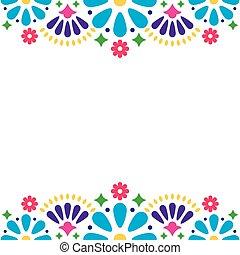 招待, メキシコ人, カラフルである, カード, 抽象的, 挨拶, 形, ベクトル, デザイン, 結婚式, 花, パーティー, 花, ∥あるいは∥, 人々, 幸せ