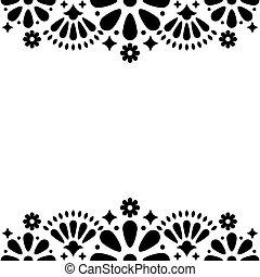 招待, メキシコ人, カード, フレーム, 挨拶, ∥あるいは∥, 形, ベクトル, デザイン, パーティー, 結婚式, 花, 黒, 白い花, 抽象的, 人々, 幸せ