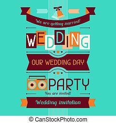 招待, レトロ, テンプレート, 結婚式, style., カード