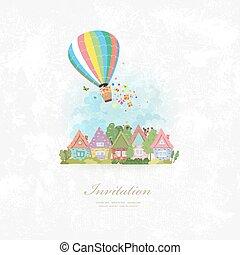 招待, 上に, 暑い, カード, 都市, balloon, 型, 空気