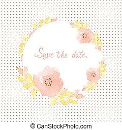 招待, 点, 花, カード, 結婚式, バックグラウンド。, ポルカ