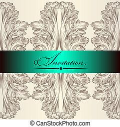 招待, 結婚式, カード, 優雅である