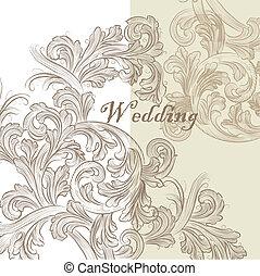 招待, 結婚式, 美しい, カード