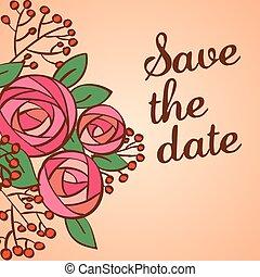 招待, 背景, 結婚式, 花, ∥あるいは∥, カード