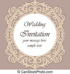 招待, 装飾, レース, カード, 結婚式