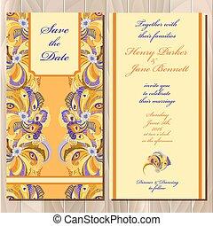 招待, card., printable, イラスト, 結婚式, 羽, 孔雀, ベクトル