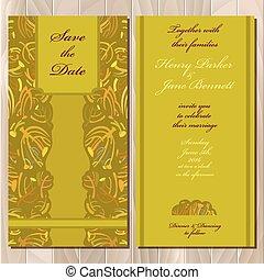 招待, card., tansy, printable, イラスト, 結婚式, ベクトル, 秋