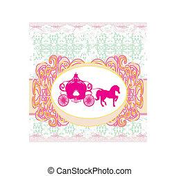 招待, carriage-, 結婚式, 花, 型