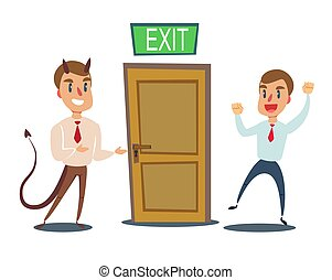 招待, door., 悪魔, 悪, 男性, ビジネスマン, 開いた